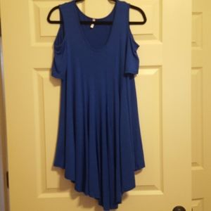 Pinkblush royal blue, cold-shoulder tunic